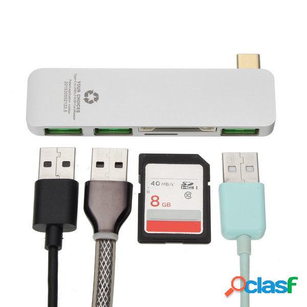 Type-C A USB3.0 3 puertos USB Hub con función de lector de