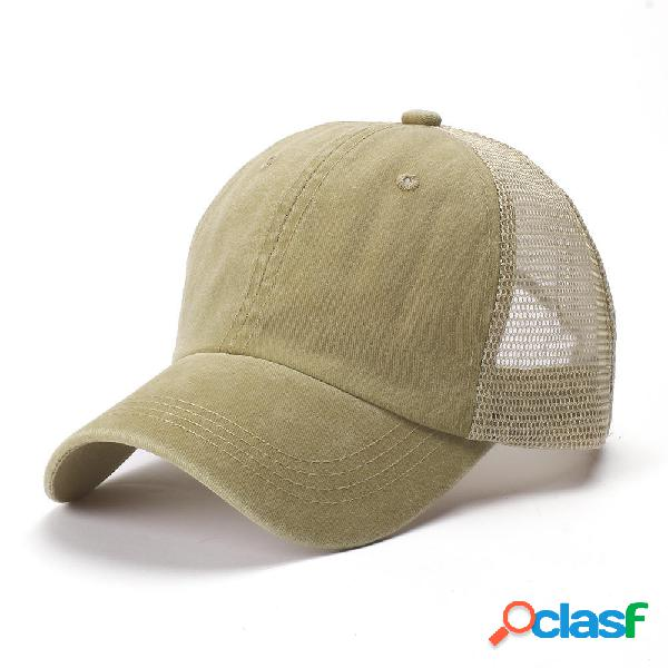 Unisex Color sólido Luz Placa Gorra de béisbol de malla