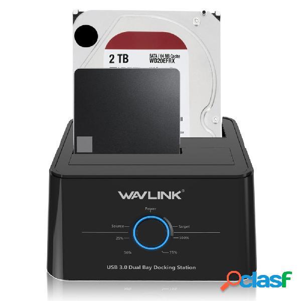 Wavlink US Enchufe USB 3.0 a SATA Dual-Bay 2.5 3.5 pulgadas