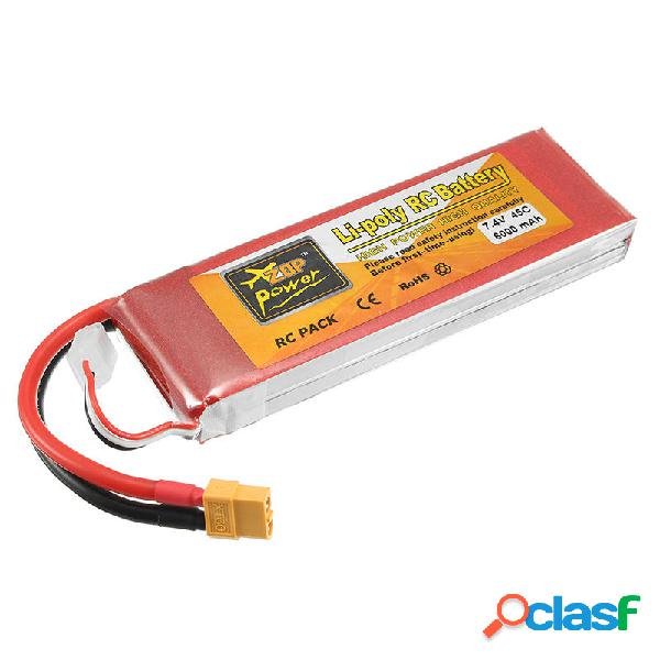 ZOP Potencia 7.4V 6000mAh 45C 2S Batería de Lipo XT60