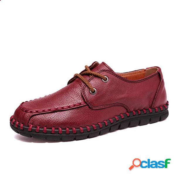 Zapatos de cuero de mujer con cordones Soft Casual al aire