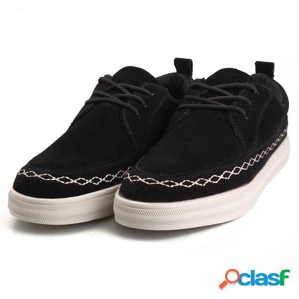 Zapatos de piso de cuero de gamuza británicos casuales para