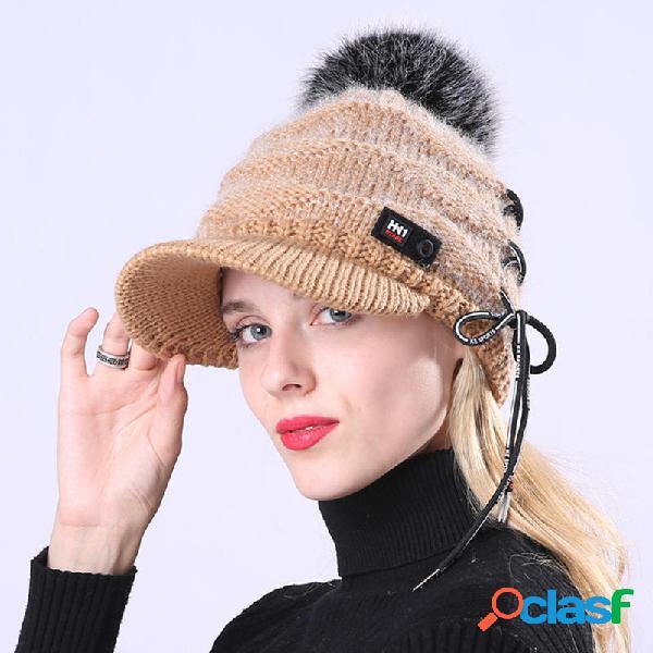 al aire libre Mujer Boina de punto de felpa Sombrero con