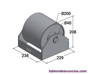 Rodillos con soporte de 200 mm para contenedor, carroceria,
