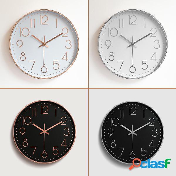 12 Modern Gold Black White Silent Wall Reloj Decoración de