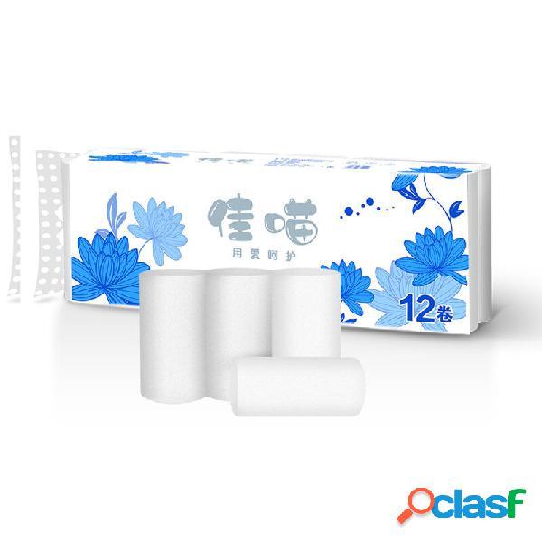 12 rollos de papel higiénico de 4 capas para el hogar Soft
