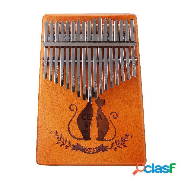 17 teclas de caoba Kalimba chapada en miniatura para piano
