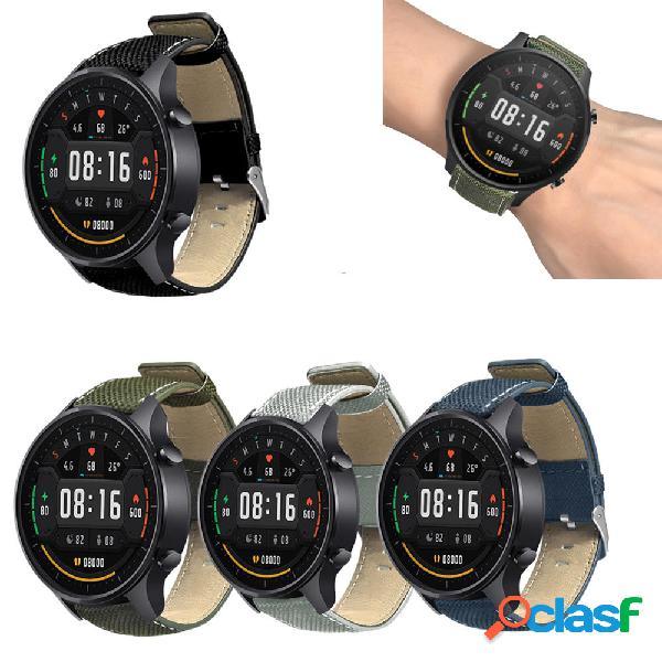 22mm Canvas + Leather Watch Banda Correa de reloj para