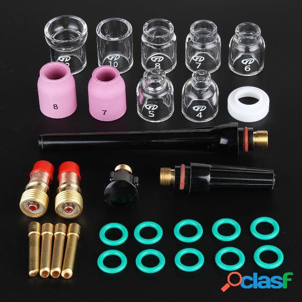 29 piezas TIG Accesorios de soldadura Torch Stubby Gas Slot