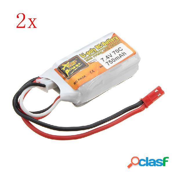 2PCS ZOP Energía 7.4V 750mAh 2S 70C Batería de Lipo