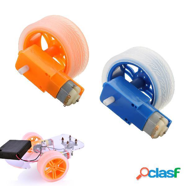 3-6v TT motor + Rueda de goma Azul / Naranja Color DIY Kit