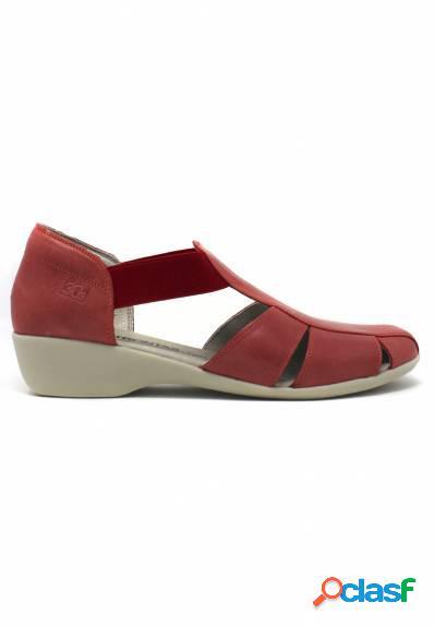 30's - Sandalia mujer en rojo con elásticos
