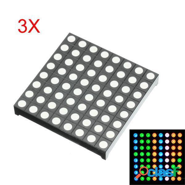 3Pcs Ánodo común de tres colores RGB LED Matriz de puntos