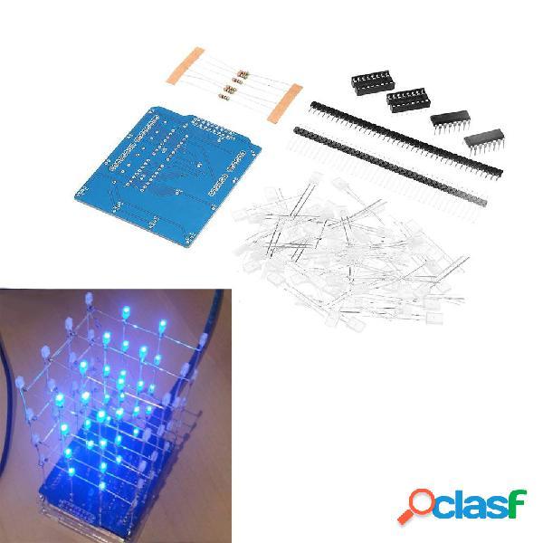 4X4X4 Azul luz LED Cube Kit 3D LED DIY Kit para DIY Kit