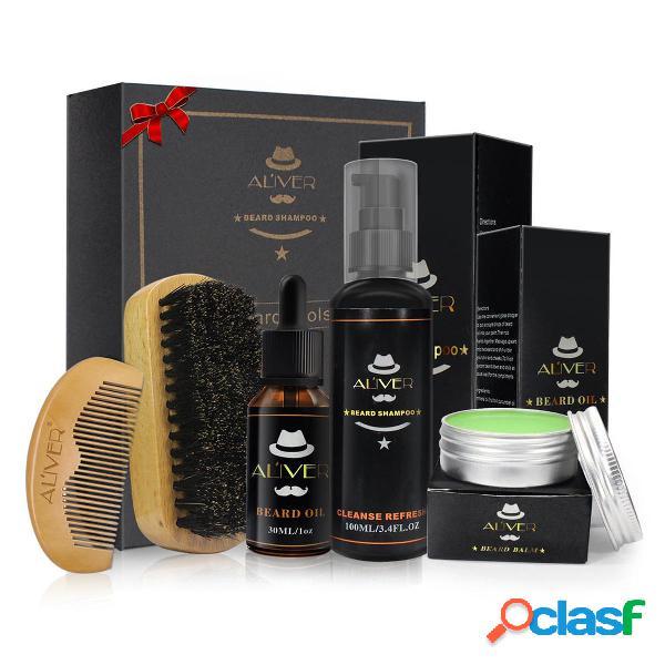 5Pcs Beard Oil Champú de bálsamo para barba peine Cepillo