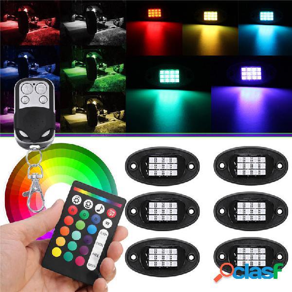 6Pcs Universal Colorful RGB LED Coche Rock Lights RF Dual