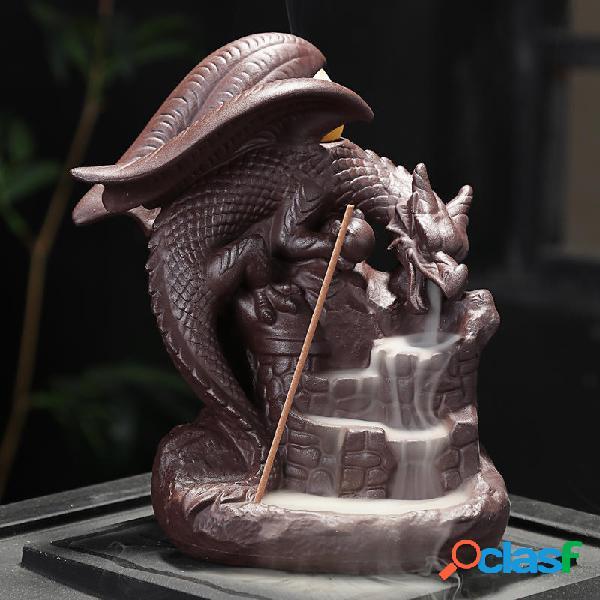 Auspicioso Dragón Purple Sand Smoke Backflow Quemador de