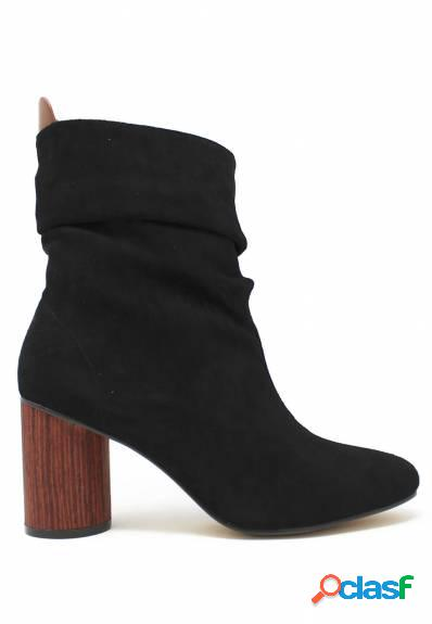 Azarey - Botín negro para mujer con tacón efecto madera