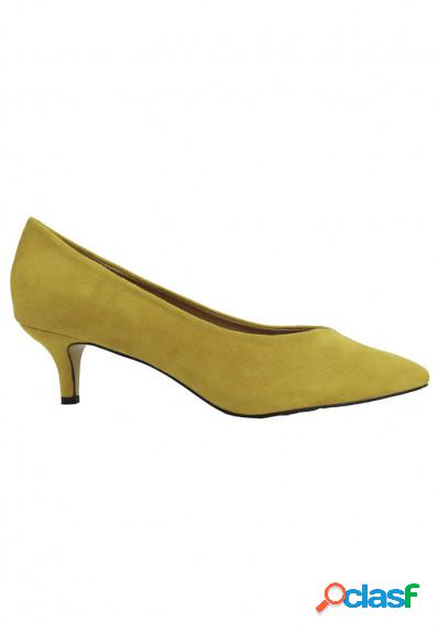 Azarey - Zapato de salón ocre con tacón medio