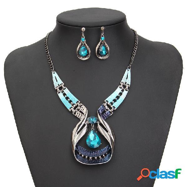 Blue Gems Necklace Crystal Drop Pendientes Conjunto de joyas
