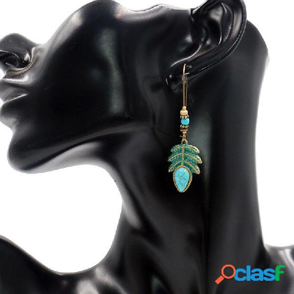Bohemian Blue Hoja Turquesa Tassel Pendientes vendimia Beads