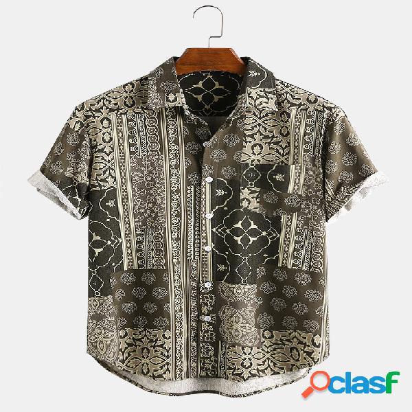 Camisas casuales de manga corta transpirables de bolsillo de