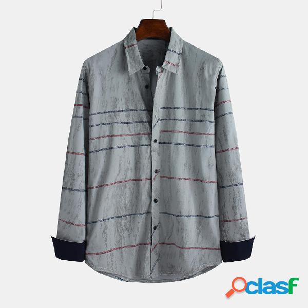 Camisas casuales de manga larga con cuello redondo de manga