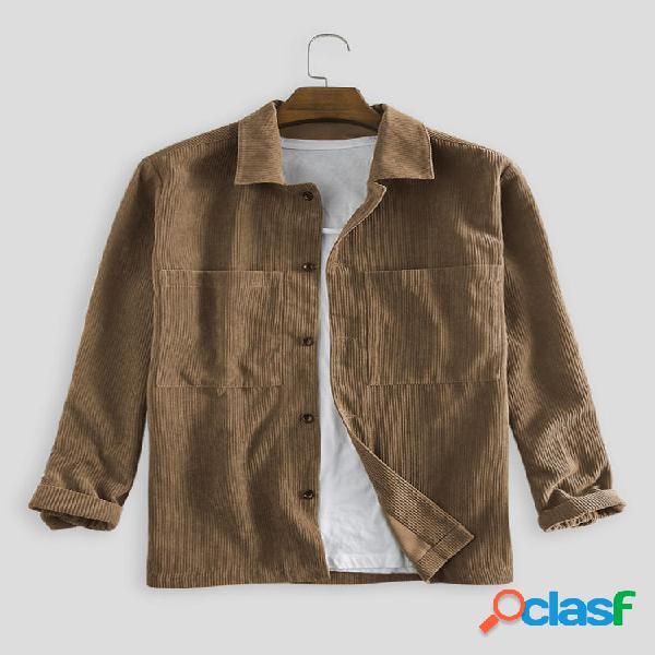 Camisas casuales de manga larga con doble bolsillo de pana