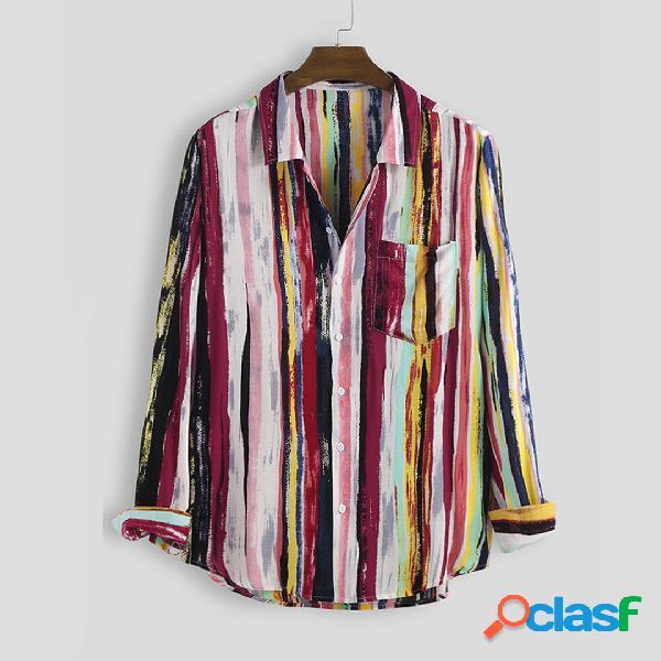 Camisas casuales de manga larga con estampado multicolor de