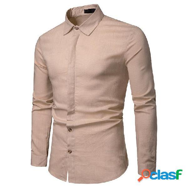 Camisas de manga larga casual para hombre de lino con cuello