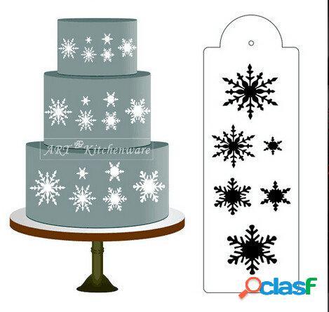 Copo de nieve Lado de la torta Diseño de borde Diseño de