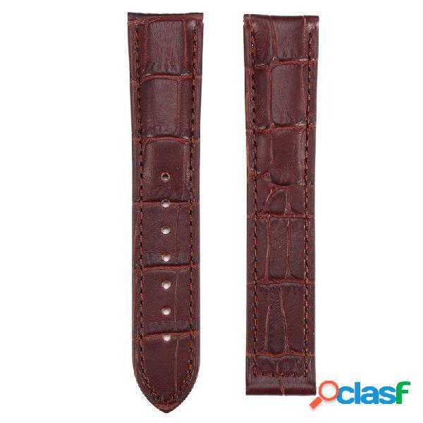 Correa de reloj de cuero marrón 20 / 22mm con barras de