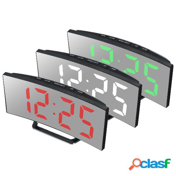 Curvado LED Alarma digital Reloj Espejo Mesa Pantalla