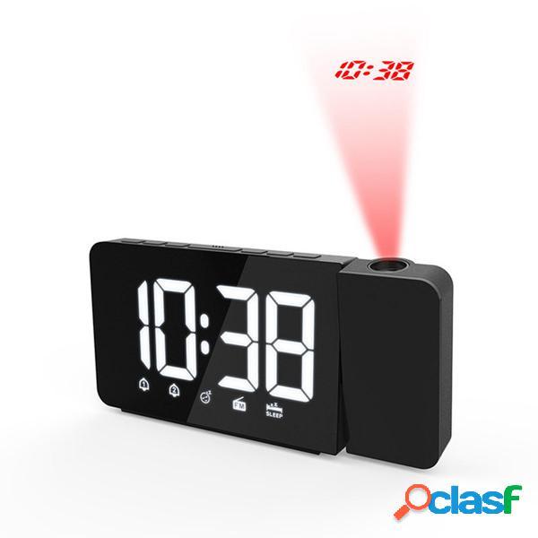 Digital LED Alarma Reloj Tiempo de proyección Posponer FM