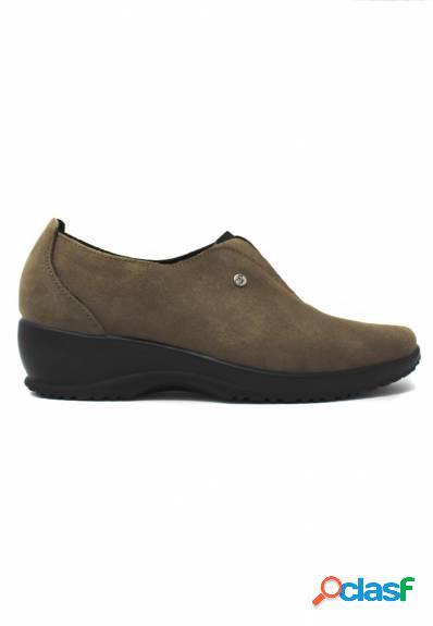 Fly Flot - Zapato de mujer marrón con cuña elástico