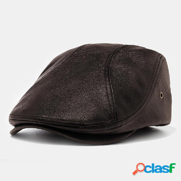Gorras de boina de cuero artificial de los hombres de