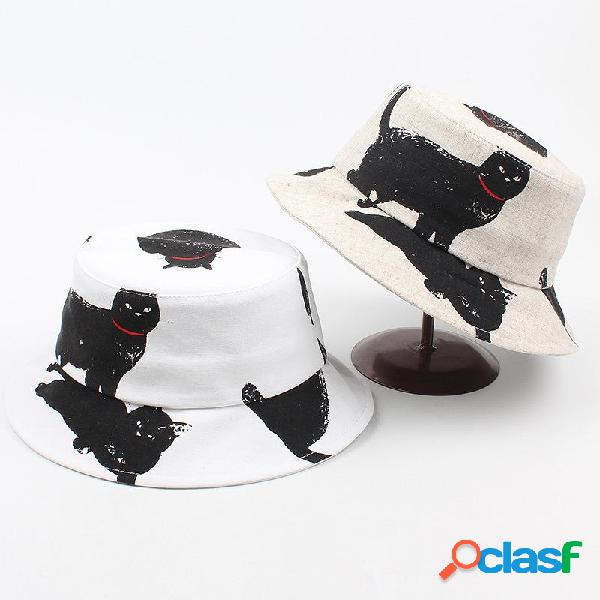 Hombres Mujer Gato Patrón Cubo de impresión Sombrero al