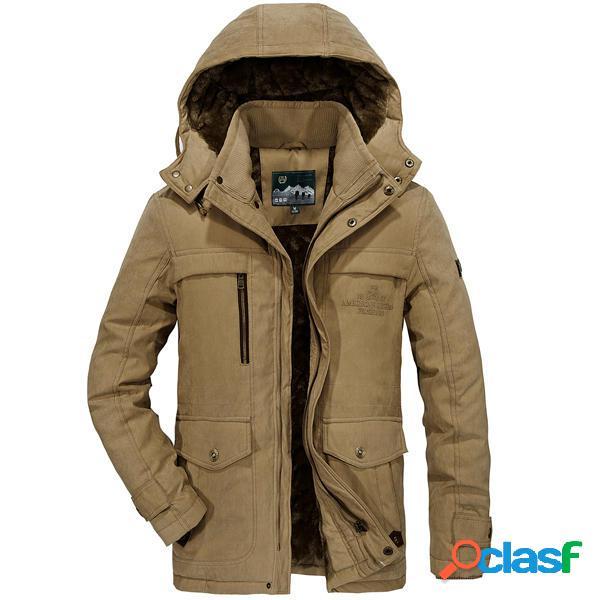 Hombres de gran tamaño de lana grueso cálido con capucha