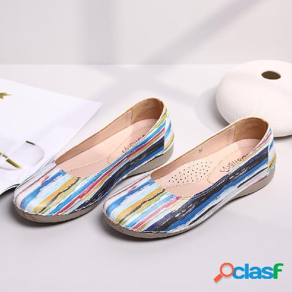 Lostisy Mujer Cuero casual multicolor Soft Zapatos planos