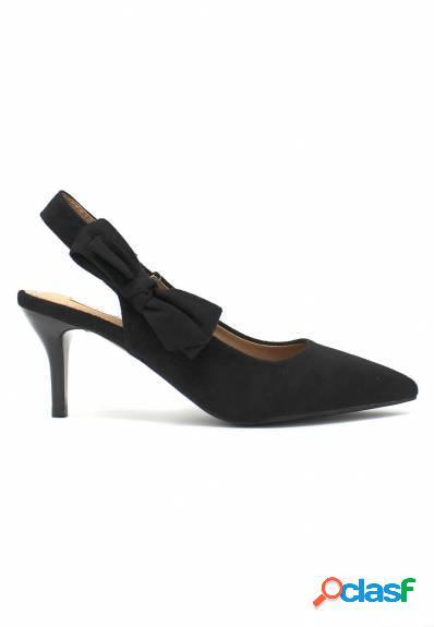 Mandarina - Zapato salón negro detalle lazo