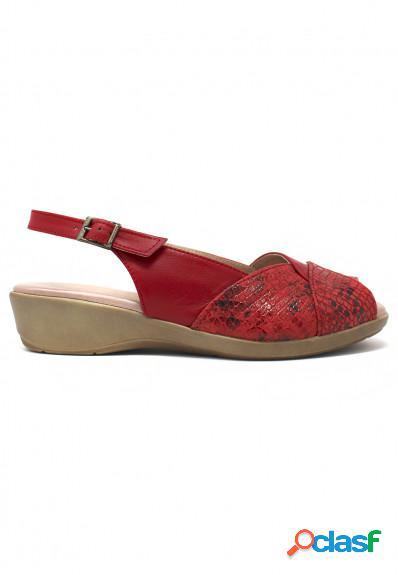 Miba - Sandalia de piel en ancho especial en color rojo