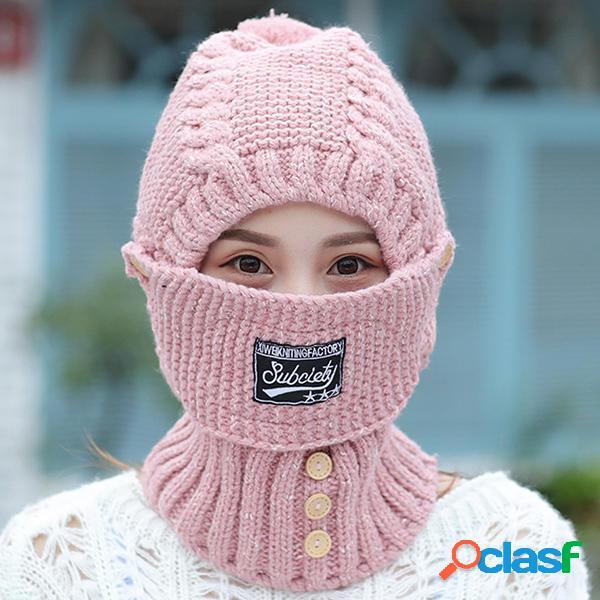 Mujer A prueba de viento Espesar Tejer Sombrero Cara de
