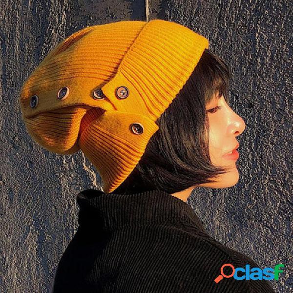 Mujer Winter Warm Botón Ski Knit Beanie Sombrero Espesar