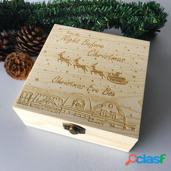 NochebuenaCajaDecoracionesdemaderagrabadas Regalo de madera