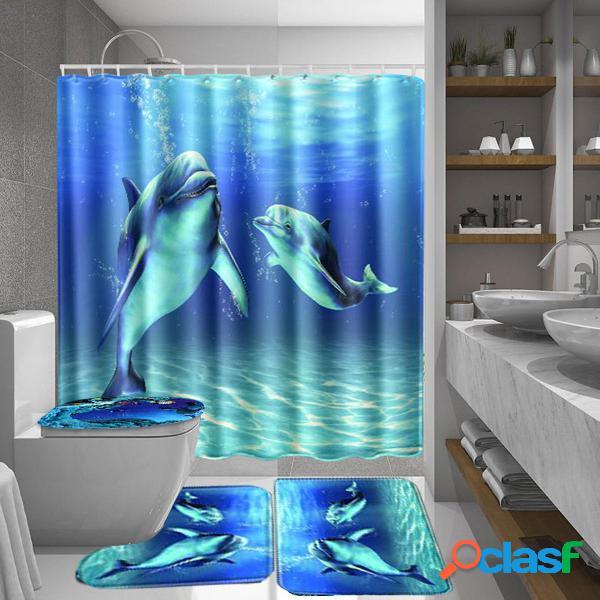 Ocean Dolphin Impermeable Cuarto de baño Cortina de ducha