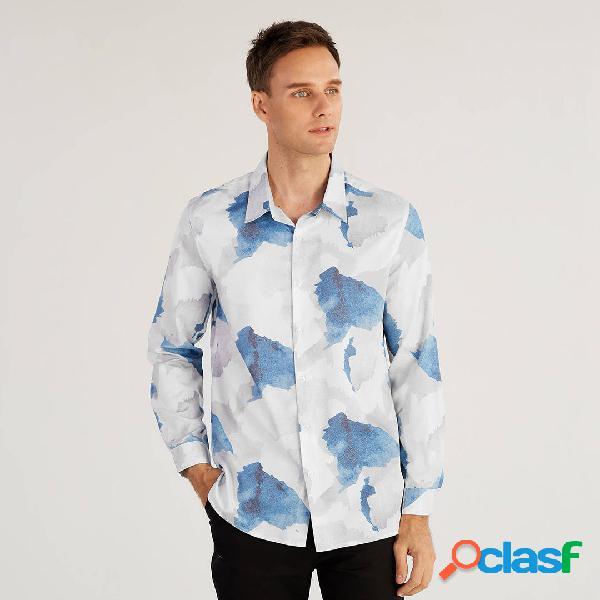 Otoño Turn Down cuello de impresión de manga larga camisas