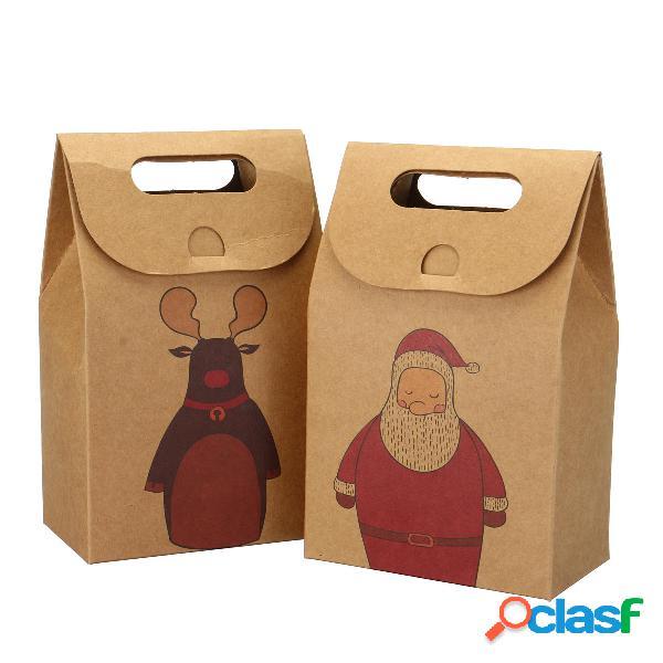 Papel de Feliz Navidad Bolsa Galletas Tote Bolsa portátil