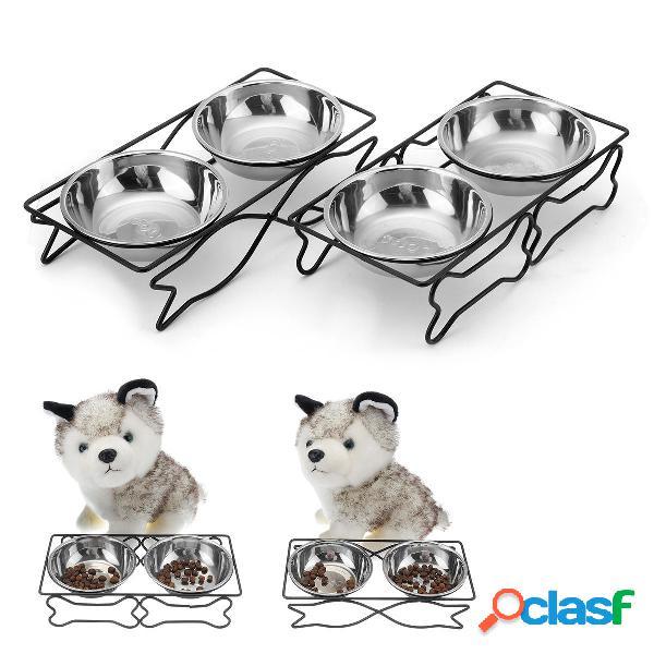 Plato doble de acero inoxidable para mascotas Perro Gato