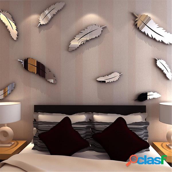 Pluma de plata DIY 3D espejo etiqueta de la pared mural para