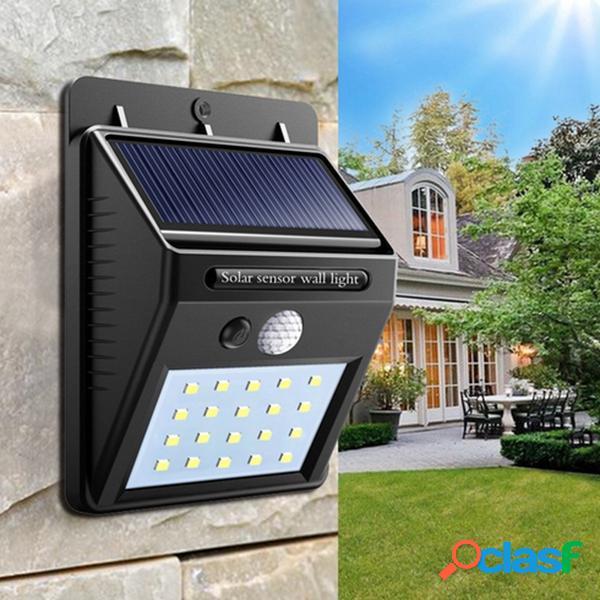 Potencia Solar 20 LED Sensor de Movimiento PIR Lámpara de